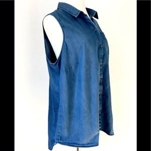 New Directions Weekend Sleeveless Collared Shirt